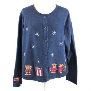 Croft & Barrow Christmas American Flag Cardigan